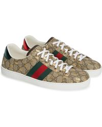 4cd911ed72367 Lyst - Gucci Brooklyn Gg Supreme Canvas Laceup Sneakers in Gray for Men