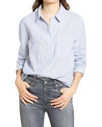 Treasure & Bond Stripe Dobby Shirt - Blue