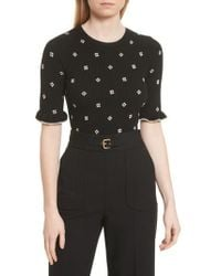 RED Valentino - Flower Intarsia Knit Top - Lyst