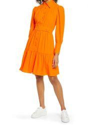 Halogen Halogen X Atlantic-pacific Belted Long Sleeve Shirtdress - Orange