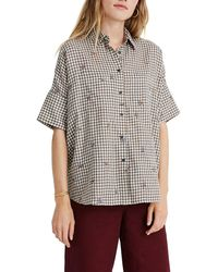 Madewell Floral Embroidered Gingham Courier Shirt - Multicolour