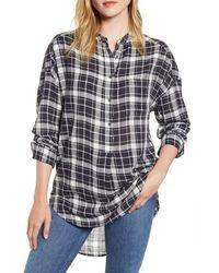 Alex Mill Plaid Popover Tunic Shirt - Black
