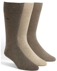 Calvin Klein - Assorted 3-pack Socks, Brown - Lyst