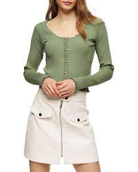 TOPSHOP Lettuce Button Cardigan - Green