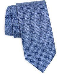 Ferragamo Gancini Print Silk Tie - Blue