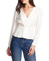 1.STATE Cross Front Smocked Waist Blouse - White