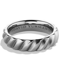 David Yurman - Cable Band Ring In Titanium - Lyst