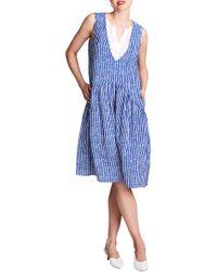 ALLETTE Donna Drop Waist Nursing Dress - Blue