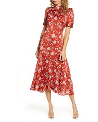 Chelsea28 Floral Satin Midi Dress - Red