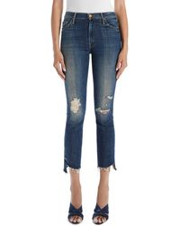 Mother The Insider Distressed High Waist Crop Step Fray Hem Bootcut Jeans - Blue