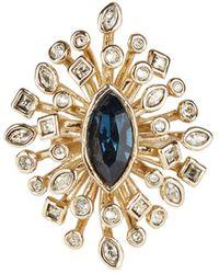 Alexis Bittar Navette Crystal Burst Cocktail Ring - Metallic