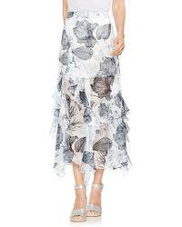 Vince Camuto - Ruffle Island Floral Midi Skirt - Lyst