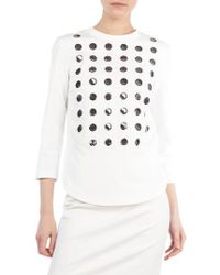 Akris Punto - 3/4-sleeve 3d Paillettes Sweatshirt - Lyst