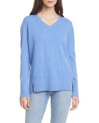 Nordstrom Cashmere V-neck Sweater - Blue