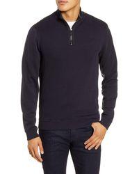 Ted Baker Hydes Slim Fit Textureblock Quarter Zip Pullover - Blue