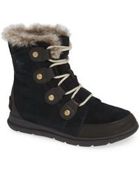 Sorel - Explorer Joan Waterproof Boot With Faux Fur Collar - Lyst