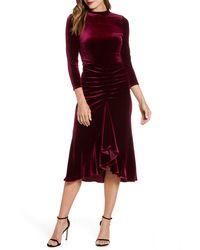 Eliza J - Ruched Velvet Dress - Lyst