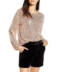 Chelsea28 Sequin Long Sleeve Top - Metallic