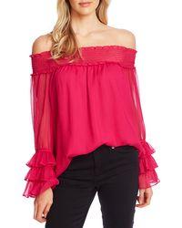 Cece Smocked Off The Shoulder Blouse - Pink