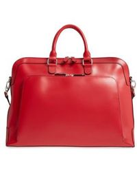 Lodis Brera Leather Briefcase - Red