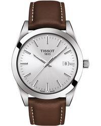 Tissot - T-classic Gentleman Leather Strap Watch - Lyst