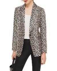 TOPSHOP - Leopard Print Suit Jacket - Lyst