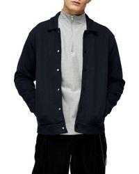 TOPMAN Classic Fit Snap-up Shirt Jacket - Black