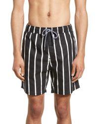Zanerobe Pinstripe Laguna Hybrid Swim Shorts - Black