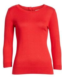 Nordstrom - 1901 Back Button Crewneck Sweater - Lyst