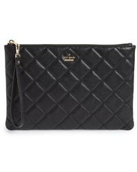 Kate Spade - Emerson Place Filey Quilted Leather Clutch - Lyst