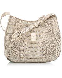 Brahmin Small Johanna Croc Embossed Leather Shoulder Bag - Natural