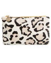 Clare V. - Snow Leopard Print Genuine Calf Hair Pouch - Lyst