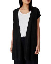 Eileen Fisher Organic Linen & Cotton Long Vest - Black
