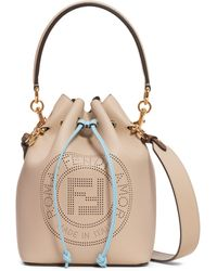 Fendi - Mon Tresor Perforated Logo Leather Bucket Bag - Lyst