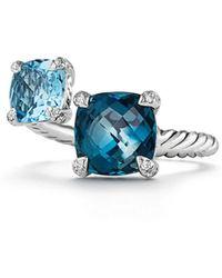 David Yurman Châtelaine® Gemstone & Diamonds Bypass Ring - Blue