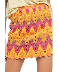 Free People Heat Of The Moment Crochet Miniskirt - Pink