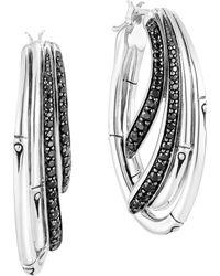 John Hardy Bamboo Sterling Silver & Stone Hoop Earrings - Multicolor