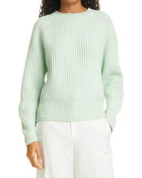 Allude Roll Neck Ribbed Cashmere Sweater - Green