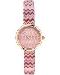 Missoni M1 Joyful Chevron Leather Strap Watch - Pink