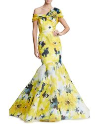 Marchesa Off The Shoulder Floral Print Mermaid Gown - Yellow