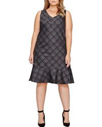 MICHEL STUDIO | Plaid Shirt Dress | Lyst