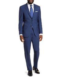 Hart Schaffner Marx Classic Fit Plaid Wool Suit - Blue