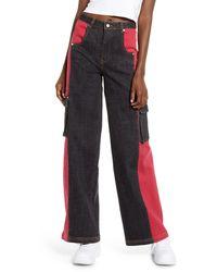 I.AM.GIA Bessi High Waist Wide Leg Cargo Jeans - Red