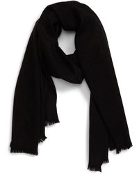 Ted Baker Long Plain Knitted Wool Scarf - Black