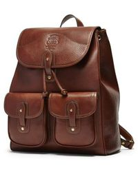 Ghurka 'blazer' Leather Backpack - Metallic - Brown