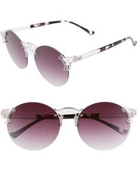 Glance Eyewear 59mm Gradient Rimless Round Sunglasses - Clear/ Black