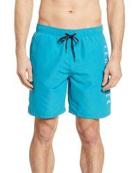 Ted Baker Slim Fit Logo Swim Trunks - Blue