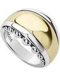 Lagos Signature Caviar High Bar Dome Ring - Metallic