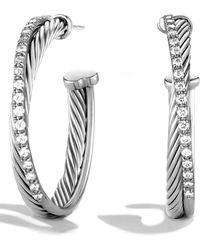 David Yurman Diamond Sterling Silver Hoop Earrings125 - Metallic