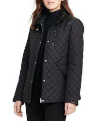 Lauren by Ralph Lauren   Faux Leather Trim Quilted Jacket   Lyst